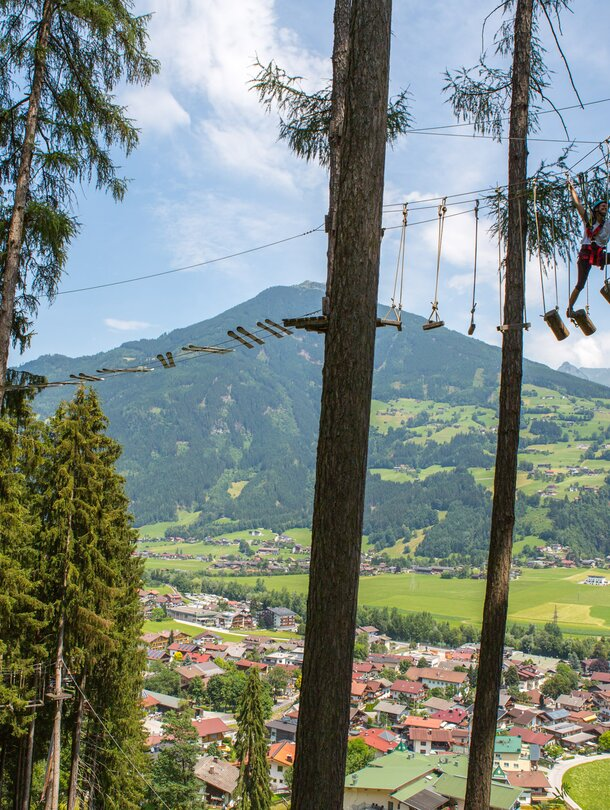 high ropes course Kaltenbach family holiday in Zillertal
